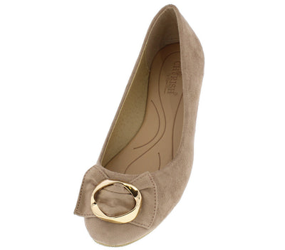 Alfany8 Taupe Gold Buckle Bow Almond Toe Flat - Wholesale Fashion Shoes