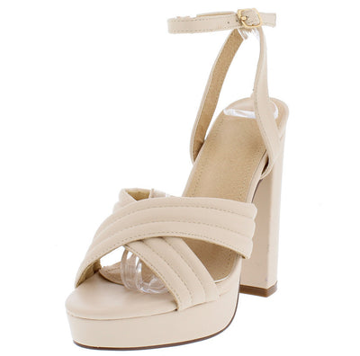 Priscilla Cream Cross Straps Platform Chunky Heel - Wholesale Fashion Shoes