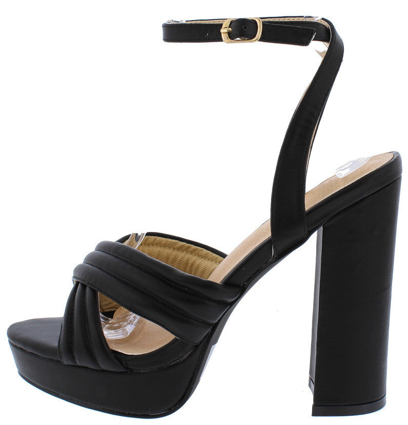 36f19f0192a8 Priscilla Black Cross Straps Platform Chunky Heel - Wholesale Fashion Shoes