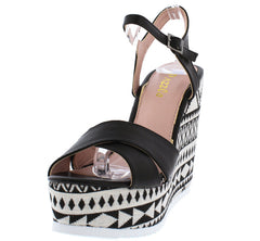 ALICE04 BLACK WOMEN'S WEDGE - Wholesale Fashion Shoes