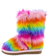 Alice11k Rainbow Faux Fur Pull On Kids Boot - Wholesale Fashion Shoes
