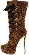 Alice3 Leopard Lace Up Heeled Boot - Wholesale Fashion Shoes