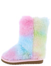 Alice9k Pink Multi Faux Fur Pull On Kids Boot - Wholesale Fashion Shoes
