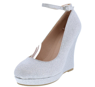Alina100 Silver Almond Toe Ankle Strap Glitter Wedge - Wholesale Fashion Shoes