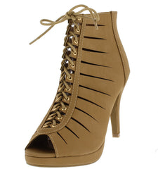 ALING1 TAN LACE UP WOMEN'S STILETTO HEEL - Wholesale Fashion Shoes