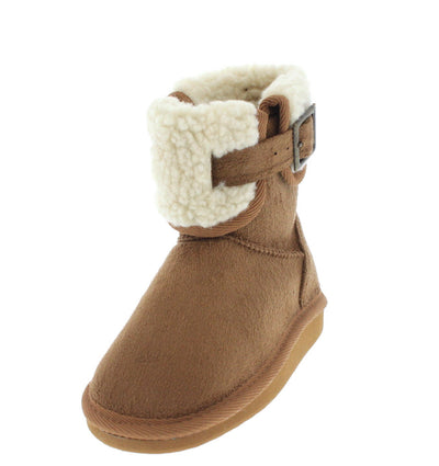 Aling23k Tan Faux Fur Short Kids Boot - Wholesale Fashion Shoes