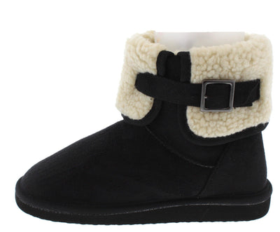 Aling23 Black Faux Fur Short Boot - Wholesale Fashion Shoes