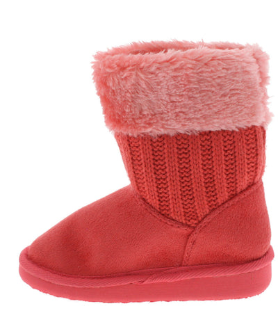 Aling36k Coral Faux Fur Sweater Kids Boot - Wholesale Fashion Shoes