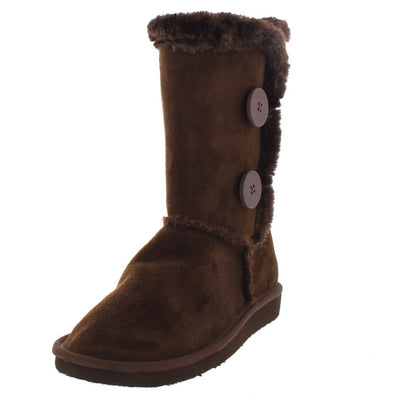 Aling45 Brown Faux Fur Button Boot - Wholesale Fashion Shoes
