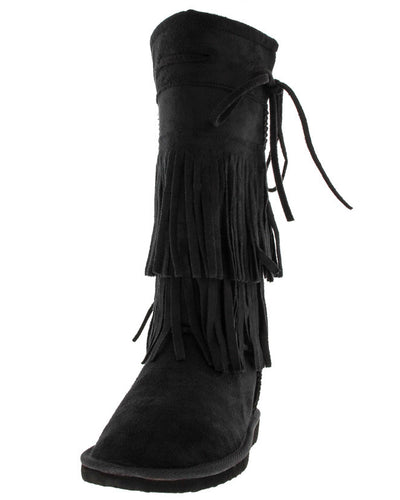 Aling82 Black Fringe Faux Fur Boot - Wholesale Fashion Shoes