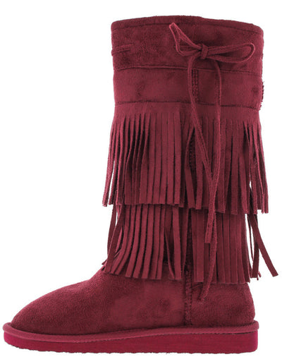 Aling82 Burgundy Fringe Faux Fur Boot - Wholesale Fashion Shoes