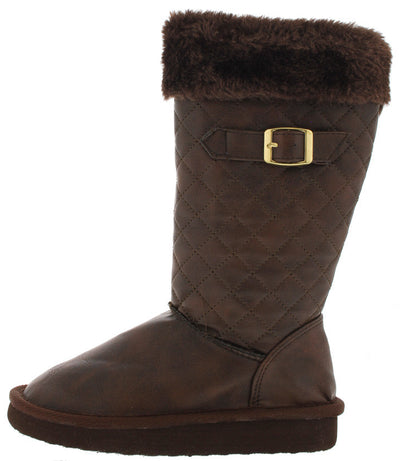 Aling83k Brown Quilted Faux Fur Kids Boot - Wholesale Fashion Shoes