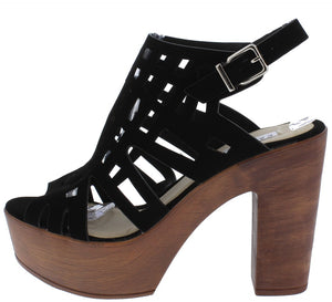 bf80714b5e8a94 Alisia5 Black Peep Toe Laser Cut Platform Wood Heel - Wholesale Fashion  Shoes