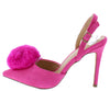 Alissa Fuchsia Pom Pointed Toe Slingback Stiletto Heel - Wholesale Fashion Shoes