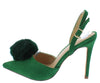 Alissa Green Pom Pointed Toe Slingback Stiletto Heel - Wholesale Fashion Shoes