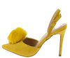 Alissa Mustard Pom Pointed Toe Slingback Stiletto Heel - Wholesale Fashion Shoes