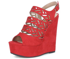 Aliyah06 Red Cut Out Laser Cut Slingback Platform Wedge - Wholesale Fashion Shoes
