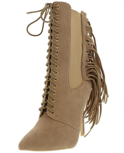Alizay Nude Fringe Pointed Lace Up Boot - Wholesale Fashion Shoes