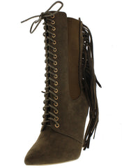 ALIZAY OLIVE FRINGE POINTED LACE UP BOOT - Wholesale Fashion Shoes
