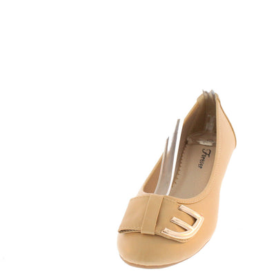 Ameena15 Taupe Metal E Bow Ballet Flat - Wholesale Fashion Shoes