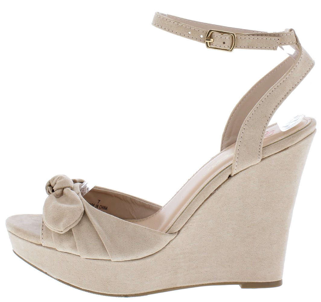 877949a17 Allan1 Nude Pleated Knot Peep Toe Ankle Strap Platform Wedge - Wholesale  Fashion Shoes