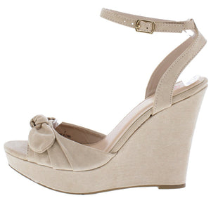 24af22b164 Allan1 Nude Pleated Knot Peep Toe Ankle Strap Platform Wedge - Wholesale  Fashion Shoes
