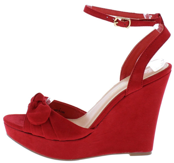 a2a4394779f506 Allan1 Red Pleated Knot Peep Toe Ankle Strap Platform Wedge