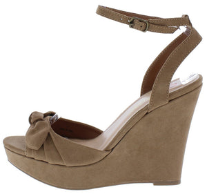 0308f8d6467f Allan1 Taupe Pleated Knot Peep Toe Ankle Strap Platform Wedge - Wholesale  Fashion Shoes