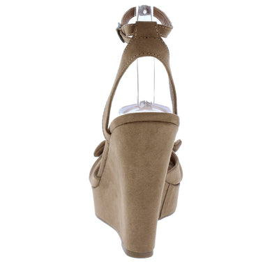 Allan1 Taupe Pleated Knot Peep Toe Ankle Strap Platform Wedge - Wholesale Fashion Shoes