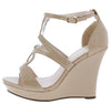 Alle11 Nude Patent Ring Cut Out Open Toe Tall Wedge - Wholesale Fashion Shoes