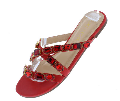 Turner059 Red Jeweled Strappy Open Toe Flat Slide Sandal - Wholesale Fashion Shoes