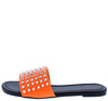 Jennifer298 Neon Orange Spike Stud Open Toe Flat Slide Sandal - Wholesale Fashion Shoes