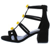 Allysa06 Black Caged Flower Stud Short Chunky Heel - Wholesale Fashion Shoes