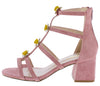 Allysa06 Blush Caged Flower Stud Short Chunky Heel - Wholesale Fashion Shoes
