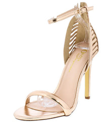 ALMA ROSE GOLD METALLIC OPEN TOE ANKLE STRAP HEEL - Wholesale Fashion Shoes