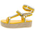 Evangelina127 Yellow Fabric Strappy Platform Espadrille Sandal