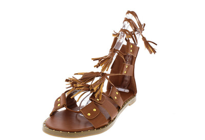 Jasmine Cognac Gladiator Tassel Sandal - Wholesale Fashion Shoes