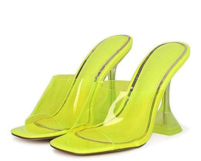 Britney012 Yellow Square Lucite Open Toe Mule Square Heel - Wholesale Fashion Shoes
