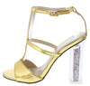 Alora2 Gold Pu Peep Toe T Strap Glitter Lucite Heel - Wholesale Fashion Shoes