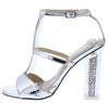 Alora2 Silver Peep Toe T Strap Glitter Lucite Heel - Wholesale Fashion Shoes