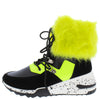 Alora Black Faux Fur Cuff Lace Up Sneaker Boot - Wholesale Fashion Shoes