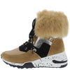 Alora Blush Faux Fur Cuff Lace Up Sneaker Boot - Wholesale Fashion Shoes