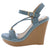 Althea1 Blue Strappy Open Toe Ankle Strap Platform Wedge