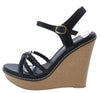 Althea3 Black Braided Strappy Open Toe Platform Wedge - Wholesale Fashion Shoes
