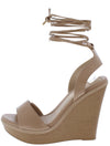 Althea6 Taupe Open Toe Slingback Ankle Wrap Wedge - Wholesale Fashion Shoes