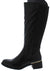 Alto01 Black Metallic Short Heel Knee High Boot