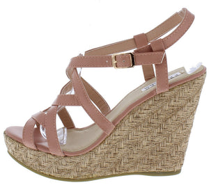 d214ce926380 Alula22 Blush Strappy Open Toe Slingback Platform Wedge - Wholesale Fashion  Shoes