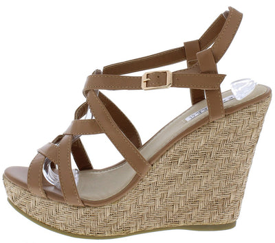 Alula22 Tan Strappy Open Toe Slingback Platform Wedge - Wholesale Fashion Shoes