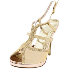 ALVARONY1 GOLD PEEP TOE MULTI-STRAP RHINESTONE SLINGBACK HEEL - Wholesale Fashion Shoes