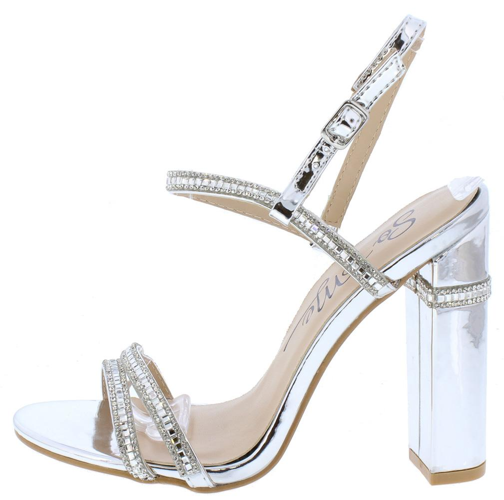 445b7167d39c Violet220 Silver Open Toe Rhinestone Strap Chunky Heel - Wholesale Fashion  Shoes